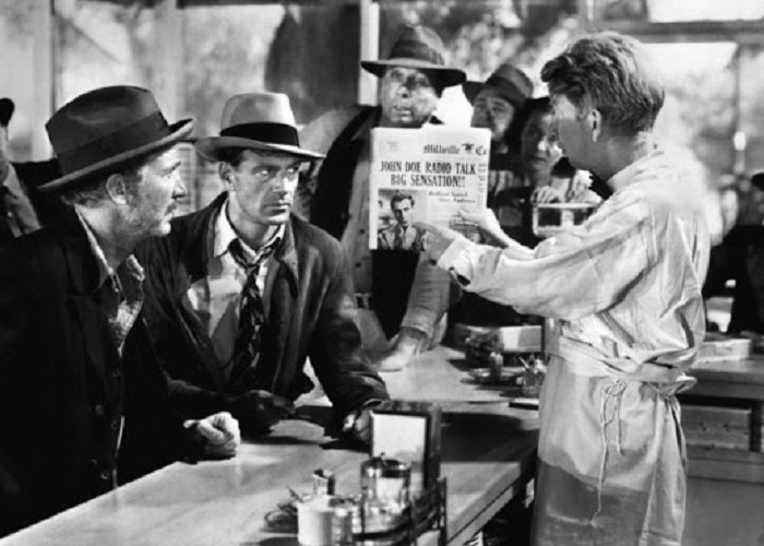 Gary Cooper, Walter Brennan, and Sterling Holloway in Meet John Doe