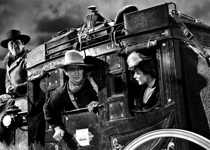 John Wayne, George Bancroft, and Louise Platt in Stagecoach