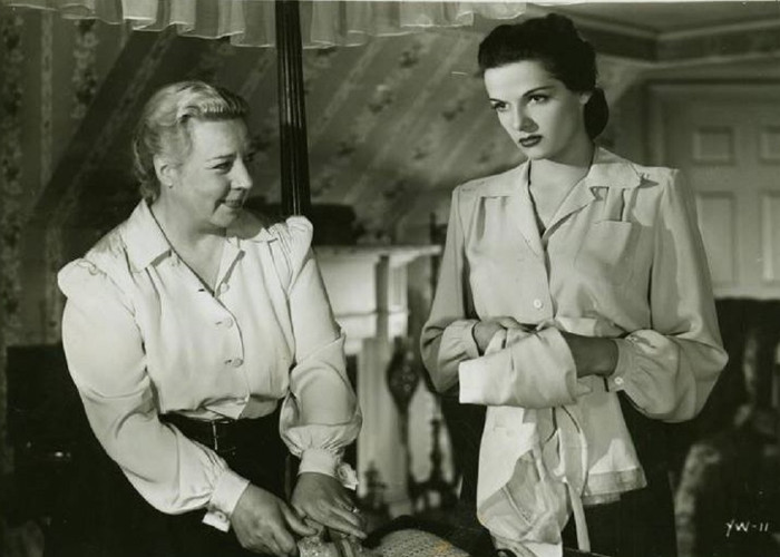Jane Russell and Connie Gilchrist in Young Widow