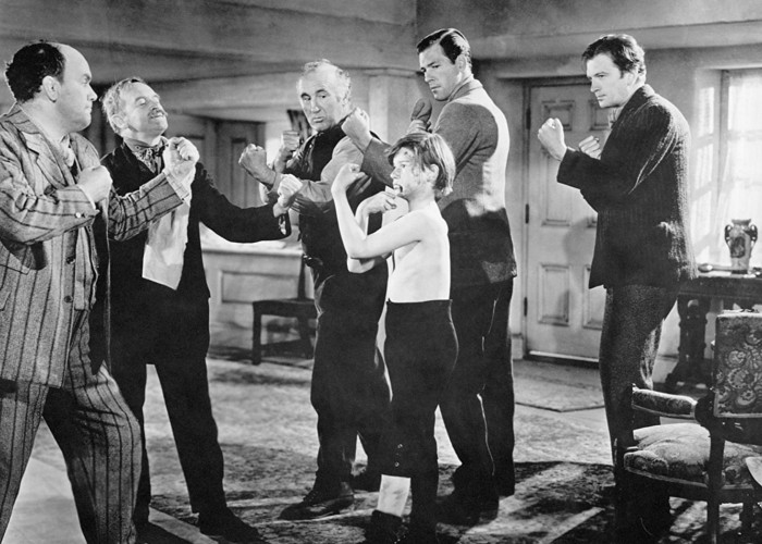 Roddy McDowall, Donald Crisp, Barry Fitzgerald, Richard Fraser, John Loder, and Rhys Williams in How Green Was My Valley