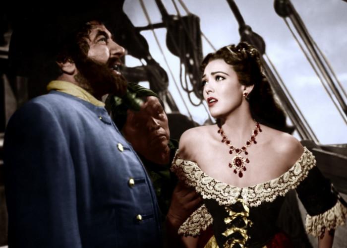 Linda Darnell and Robert Newton in Blackbeard, the Pirate
