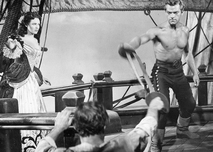 Linda Darnell and Keith Andes in Blackbeard, the Pirate (1952)