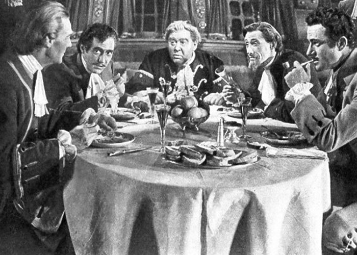Randolph Scott, John Carradine, Charles Laughton, Sheldon Leonard, and Gilbert Roland in Captain Kidd (1945)