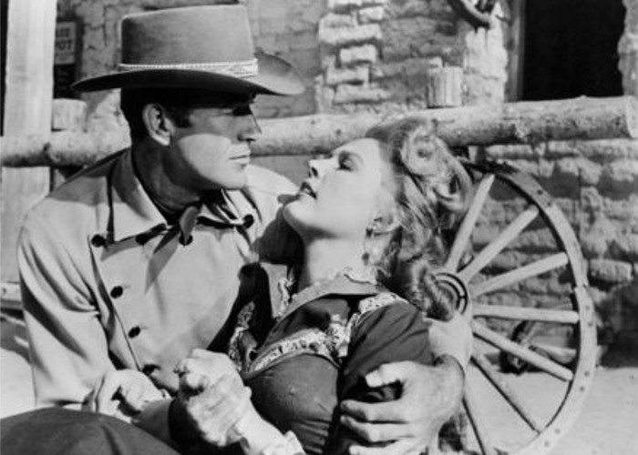 Gale Robbins and Mark Stevens in Gunsmoke in Tucson (1958)