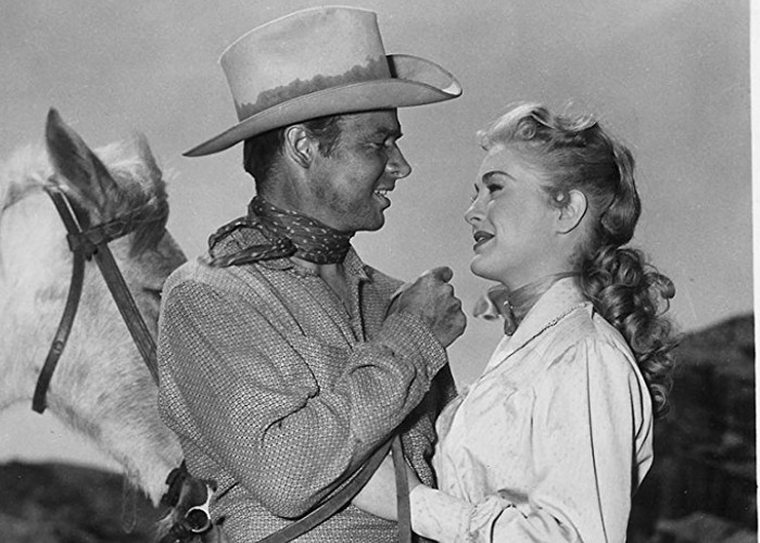 Audie Murphy and Lori Nelson in Tumbleweed (1953)