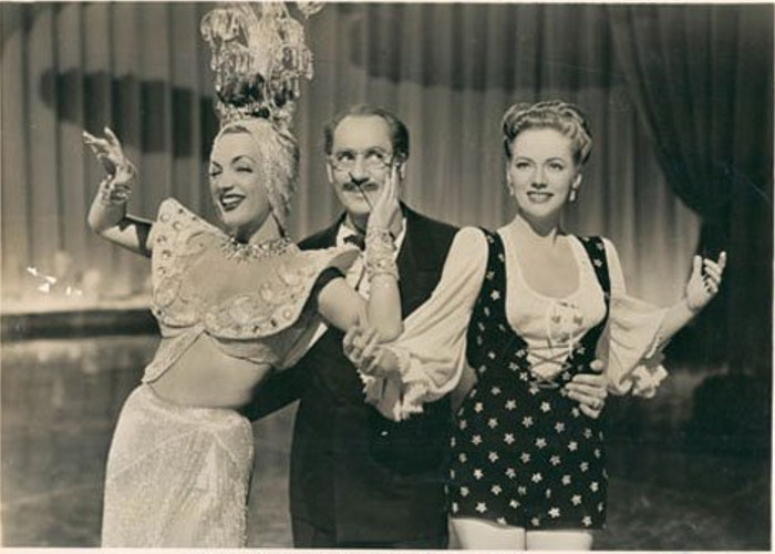 Groucho Marx, Carmen Miranda, and Gloria Jean in Copacabana (1947)