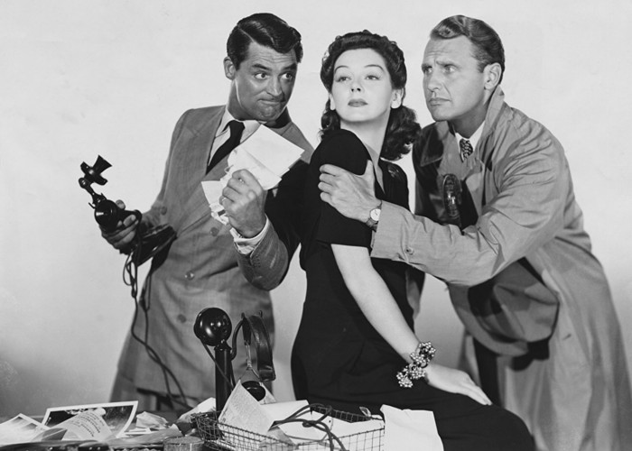 Cary Grant, Ralph Bellamy, and Rosalind Russell in His Girl Friday (1940)