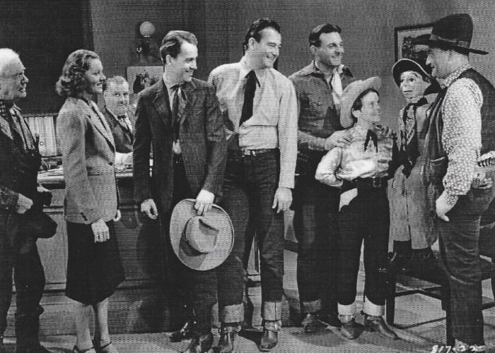 John Wayne, Burr Caruth, Ray Corrigan, Kirby Grant, Lorna Gray, Robert McKenzie, Sammy McKim, Max Terhune, and Elmer in Red River Range (1938)