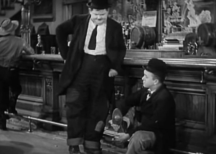 Oliver Hardy and Stan Laurel in Way Out West