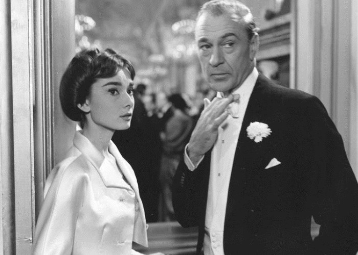 Gary Cooper and Audrey Hepburn in Love in the Afternoon (1957)