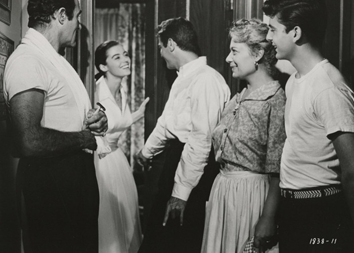 Tony Curtis, Argentina Brunetti, Marisa Pavan, and Gilbert Roland in The Midnight Story (1957)
