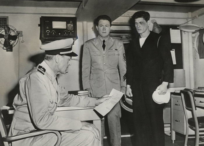 Gary Cooper, Charles Bronson, and Henry Slate in You're in the Navy Now (1951)