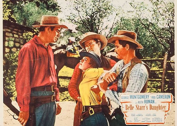 Rod Cameron, Jack Lambert, William Phipps, and Ruth Roman in Belle Starr's Daughter (1948)