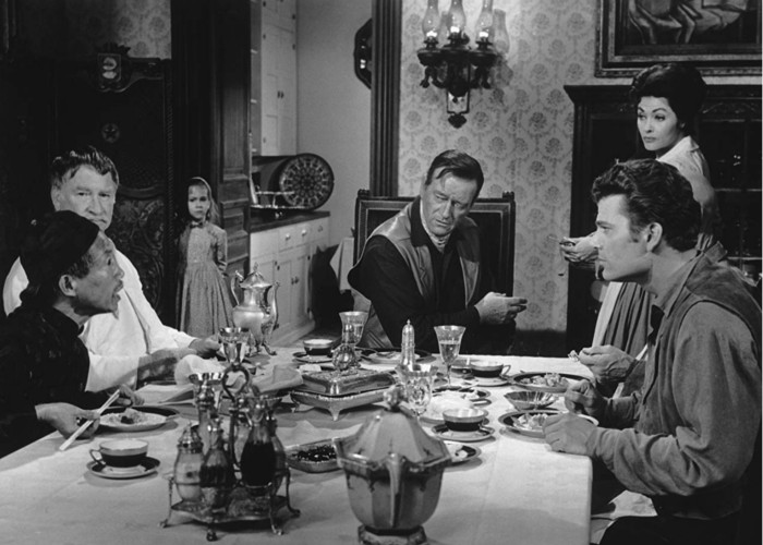 John Wayne, Yvonne De Carlo, H.W. Gim, Aissa Wayne, Patrick Wayne, and Chill Wills in McLintock! (1963)