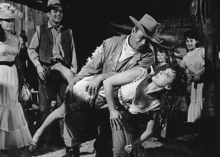 Maureen O'Hara, John Wayne, Carol Daniels, Stefanie Powers, Aissa Wayne, and Patrick Wayne in McLintock! (1963)