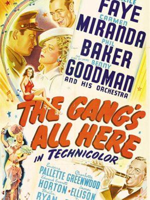 Carmen Miranda, Phil Baker, James Ellison, Alice Faye, and Benny Goodman in The Gang's All Here (1943)