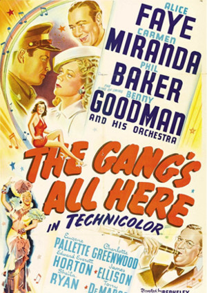Carmen Miranda, Phil Baker, James Ellison, Alice Faye, and Benny Goodman in The Gang's All Here (1943)