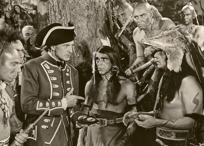 Gary Cooper and Boris Karloff in Unconquered (1947)