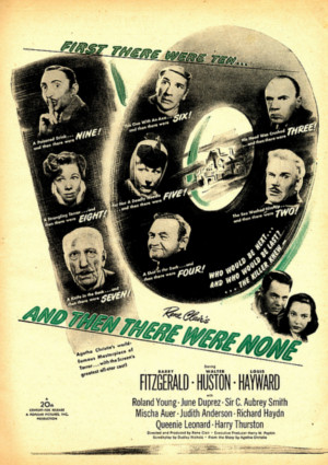 Judith Anderson, Mischa Auer, June Duprez, Barry Fitzgerald, Richard Haydn, Louis Hayward, Walter Huston, C. Aubrey Smith, and Roland Young in And Then There Were None (1945)