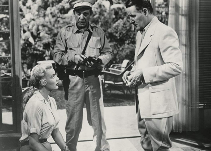 Lon Chaney Jr., Tom Conway, and Barbara Payton in Bride of the Gorilla (1951)