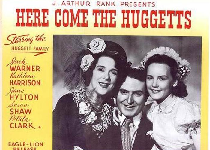 Petula Clark, Kathleen Harrison, and Jack Warner in Here Come the Huggetts (1948)