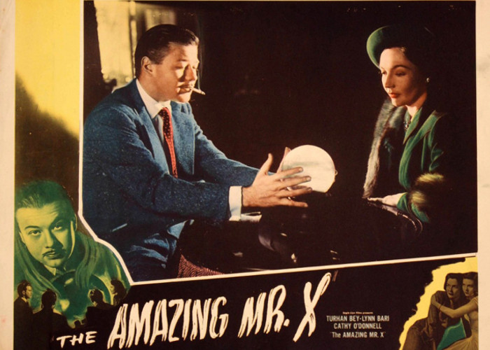 Turhan Bey and Lynn Bari in The Amazing Mr. X (1948)