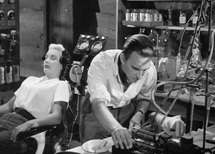 Stephen Murray and Barbara Payton in Four Sided Triangle (1953)
