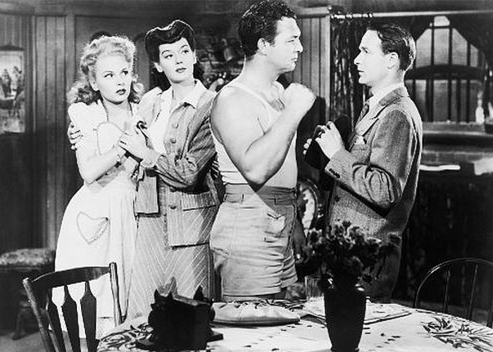 Janet Blair, Chick Chandler, Gordon Jones, and Rosalind Russell in My Sister Eileen (1942)