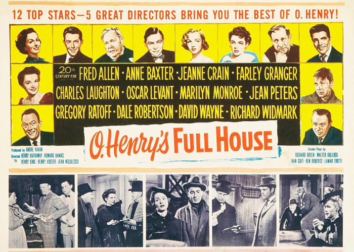 Marilyn Monroe, Anne Baxter, Charles Laughton, Richard Widmark, Jeanne Crain, Fred Allen, Farley Granger, Oscar Levant, Jean Peters, Gregory Ratoff, Dale Robertson, and David Wayne in O. Henry's Full House (1952)