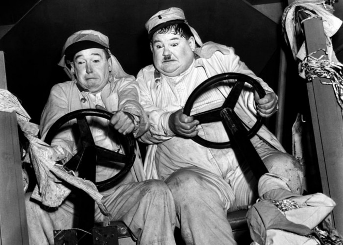 Oliver Hardy and Stan Laurel in The Flying Deuces (1939)