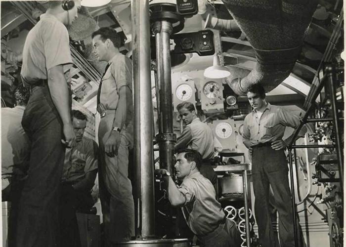Tyrone Power, John Archer, and David Bacon in Crash Dive (1943)