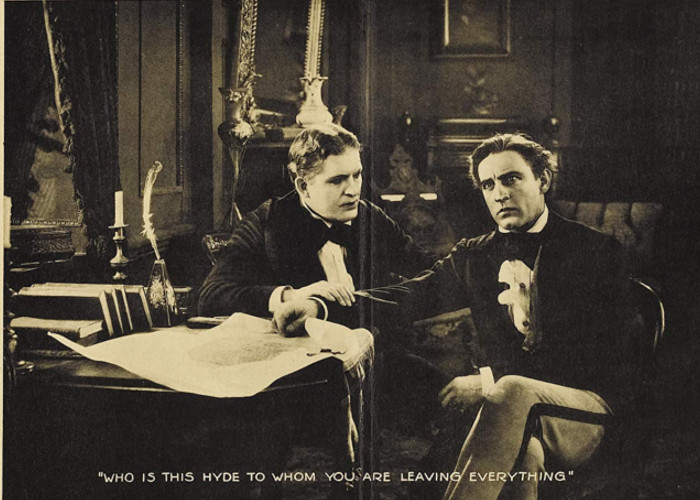 John Barrymore and Charles Lane in Dr. Jekyll and Mr. Hyde (1920)