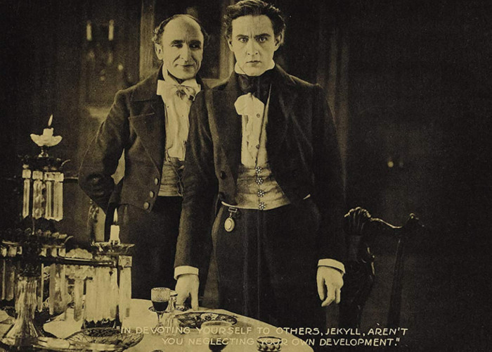 John Barrymore and George Stevens in Dr. Jekyll and Mr. Hyde (1920)