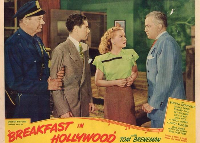 Tom Breneman, Bonita Granville, Lee Phelps, and Edward Ryan in Breakfast in Hollywood (1946)