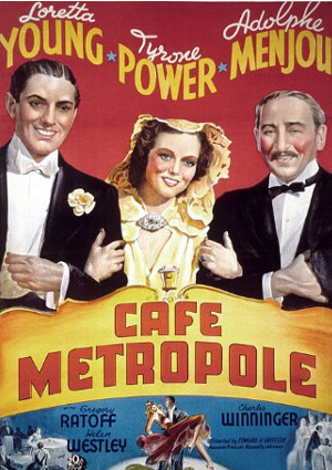 Tyrone Power, Adolphe Menjou, and Loretta Young in Café Metropole (1937)
