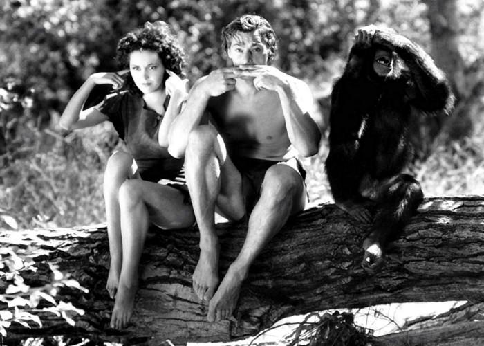 Maureen O'Sullivan, Johnny Weissmuller, and Cheetah in Tarzan the Ape Man (1932)