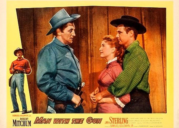 Robert Mitchum, Karen Sharpe, and John Lupton in Man with the Gun (1955)