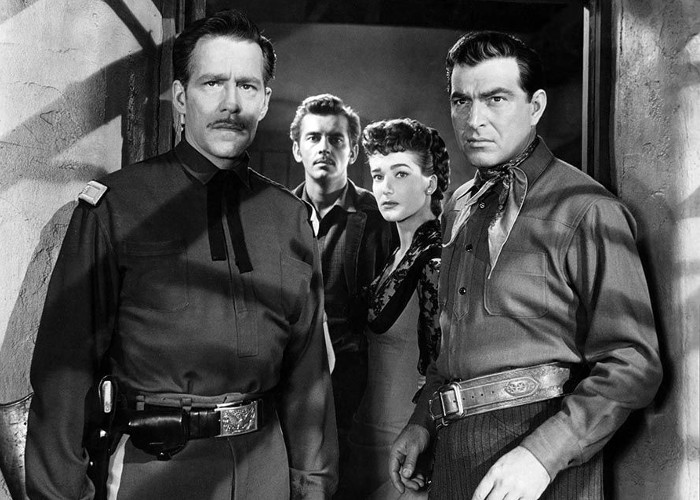 Julie Adams, Jack Kelly, Hugh Marlowe, and Stephen McNally in The Stand at Apache River (1953)