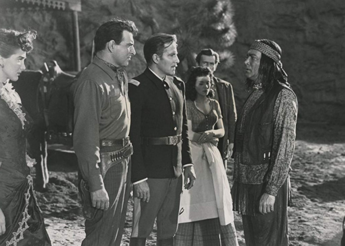 Julie Adams, Edgar Barrier, Jaclynne Greene, Hugh Marlowe, Stephen McNally, and Charles Stevens in The Stand at Apache River (1953)