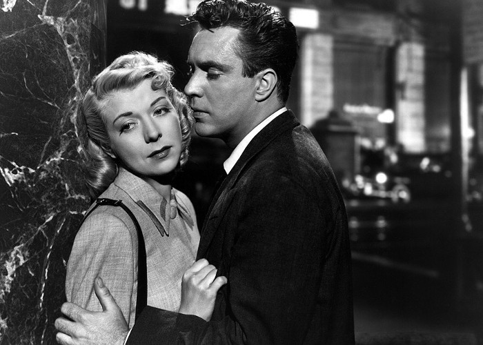 Pamela Britton and Edmond O'Brien in D.O.A. (1949)