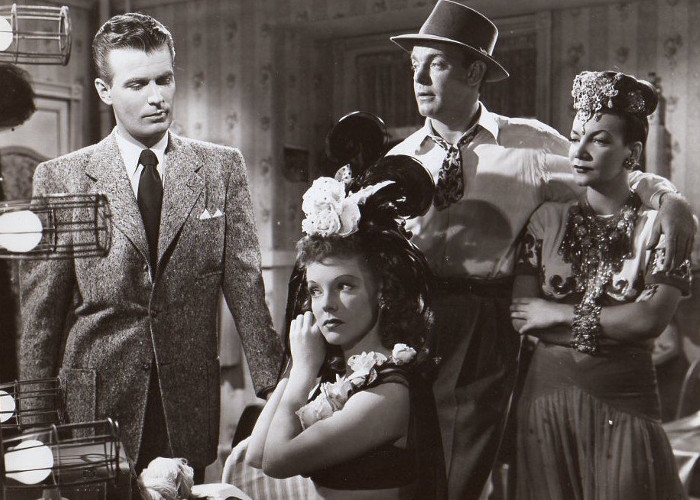 Carmen Miranda, Vivian Blaine, Stephen Dunne, and Dennis O'Keefe in Doll Face (1945)