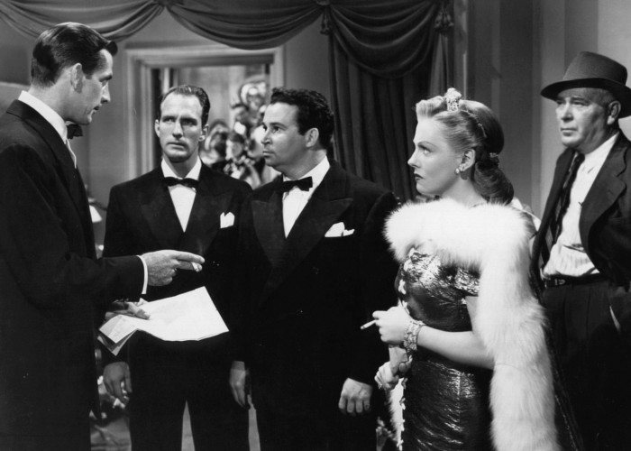 Vivian Blaine, Stephen Dunne, Reed Hadley, Philip Morris, and Stanley Prager in Doll Face (1945)