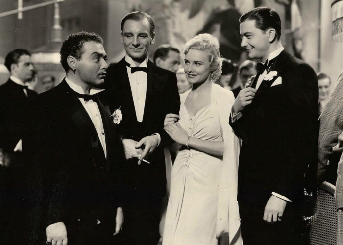 John Gielgud, Peter Lorre, Robert Young, and Madeleine Carroll in Secret Agent (1936)