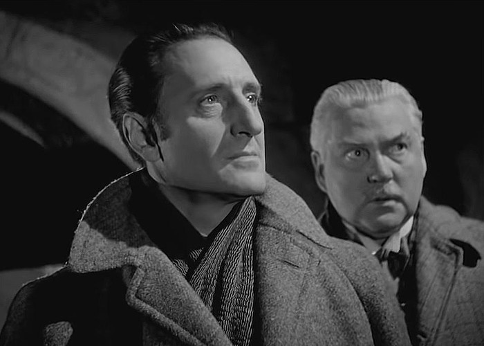Basil Rathbone and Nigel Bruce in The House of Fear (1945)