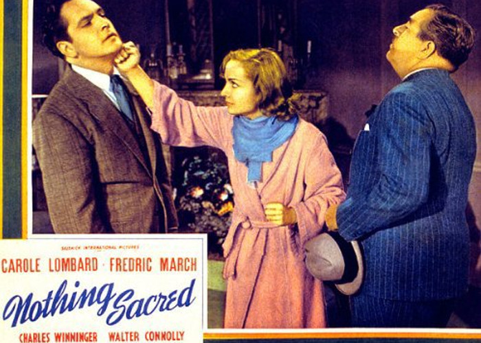 Carole Lombard, Walter Connolly, and Fredric March in Nothing Sacred (1937)