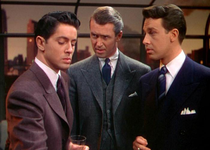 James Stewart, John Dall, and Farley Granger in Rope (1948)