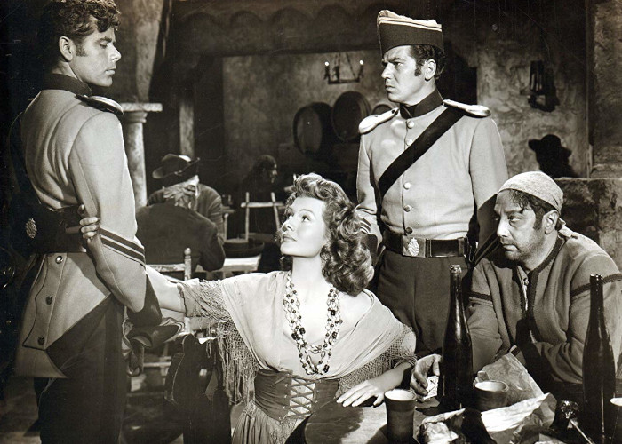 Rita Hayworth, Glenn Ford, Luther Adler, and John Baragrey in The Loves of Carmen (1948)