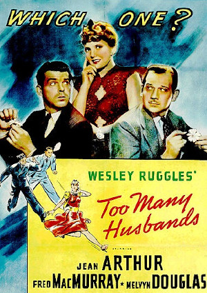 Jean Arthur, Melvyn Douglas, and Fred MacMurray in Too Many Husbands (1940)