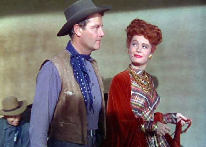 Joel McCrea and Alexis Smith in South of St. Louis (1949)