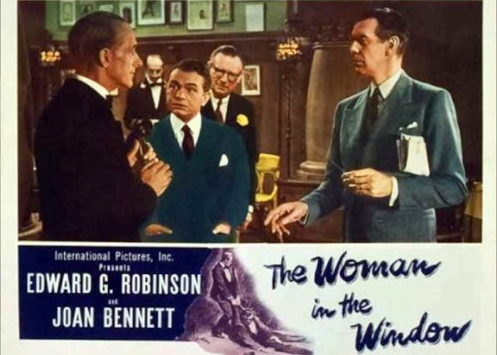 Edward G. Robinson, Edmund Breon, and Raymond Massey in The Woman in the Window (1944)